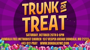 Trunk or Treat-Saturday, October 26th from 6-8 PM